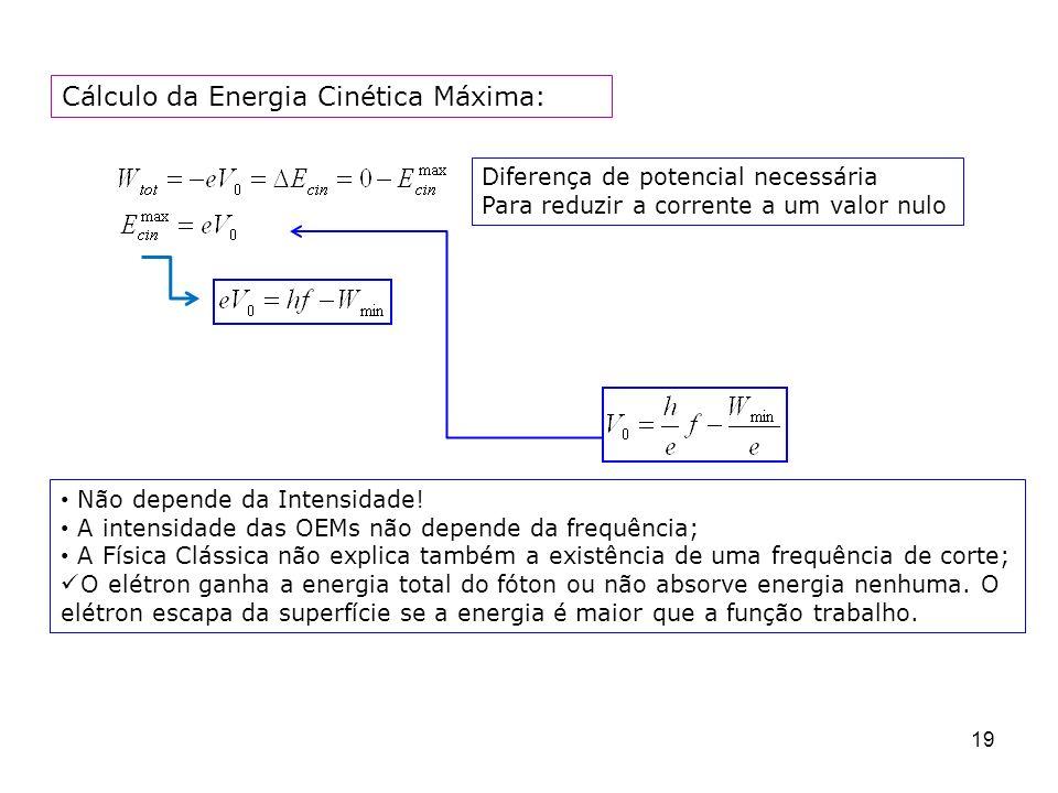 Cálculo da Energia Cinética Máxima:
