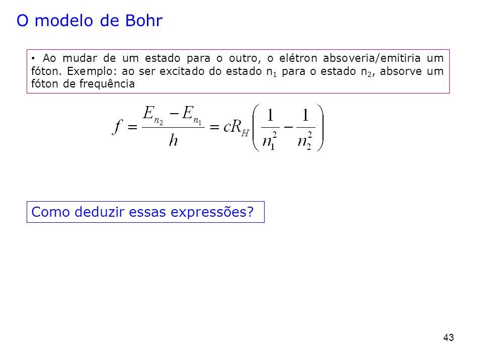O modelo de Bohr Como deduzir essas expressões