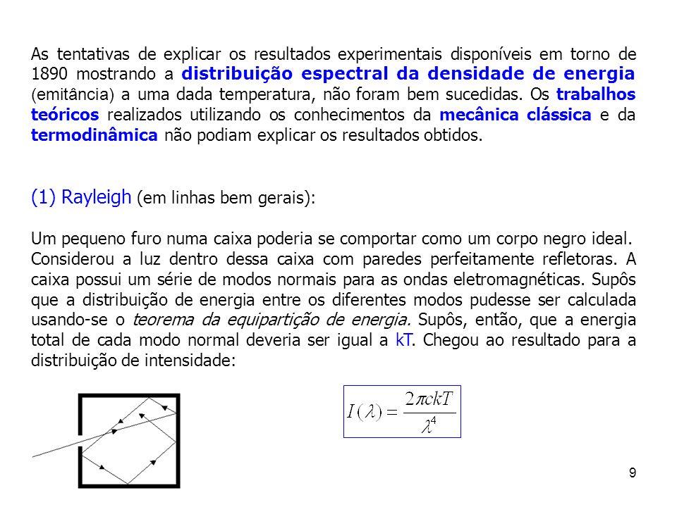 (1) Rayleigh (em linhas bem gerais):