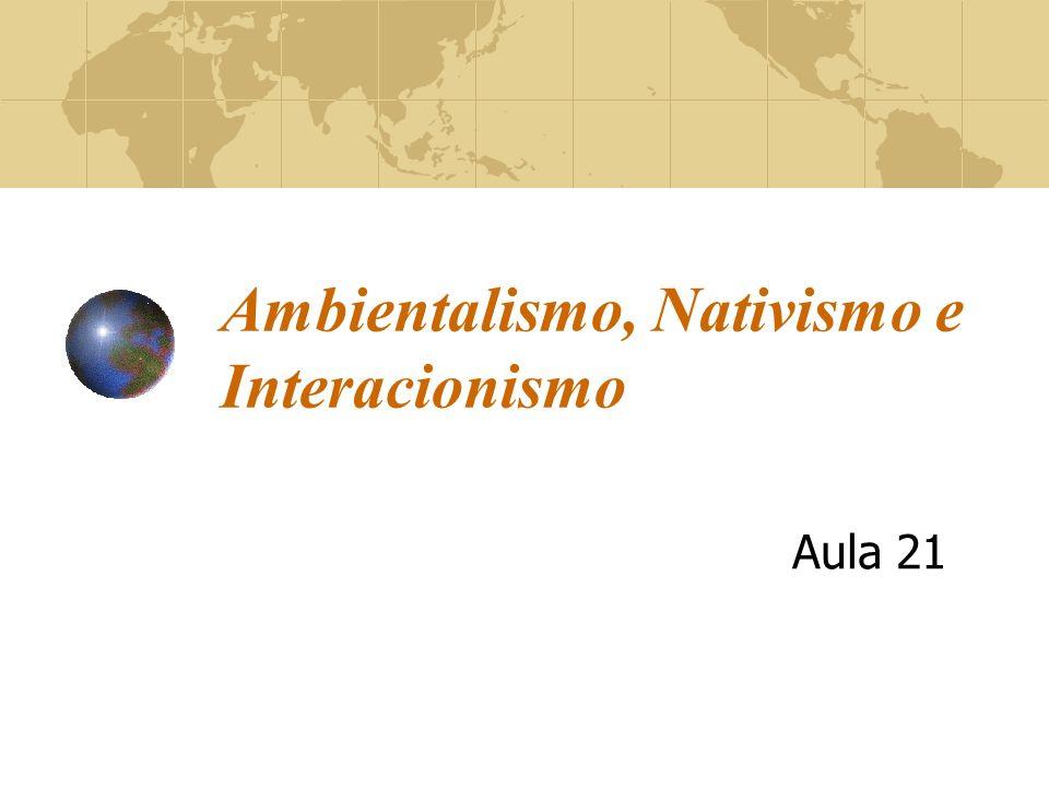 Ambientalismo, Nativismo e Interacionismo