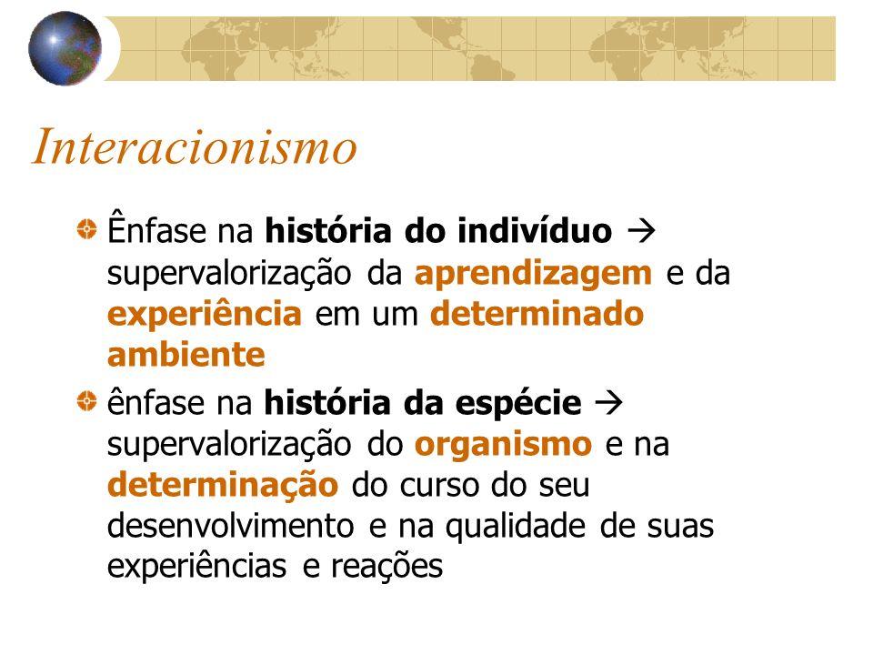Interacionismo Ênfase na história do indivíduo  supervalorização da aprendizagem e da experiência em um determinado ambiente.
