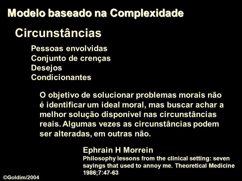 Circunstâncias Modelo baseado na Complexidade Pessoas envolvidas