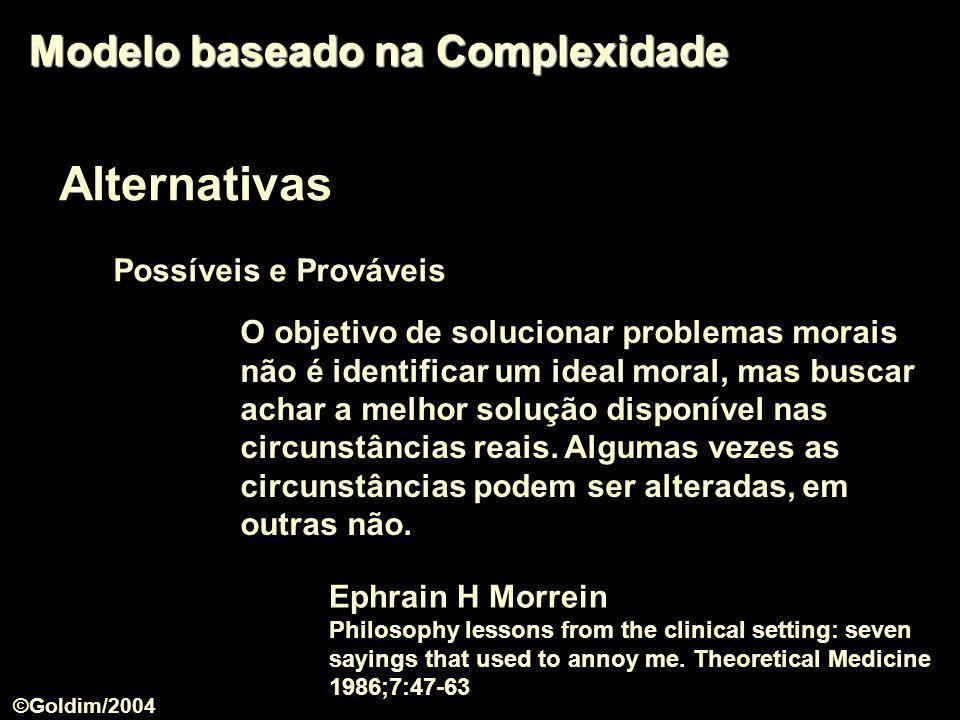 Alternativas Modelo baseado na Complexidade Possíveis e Prováveis