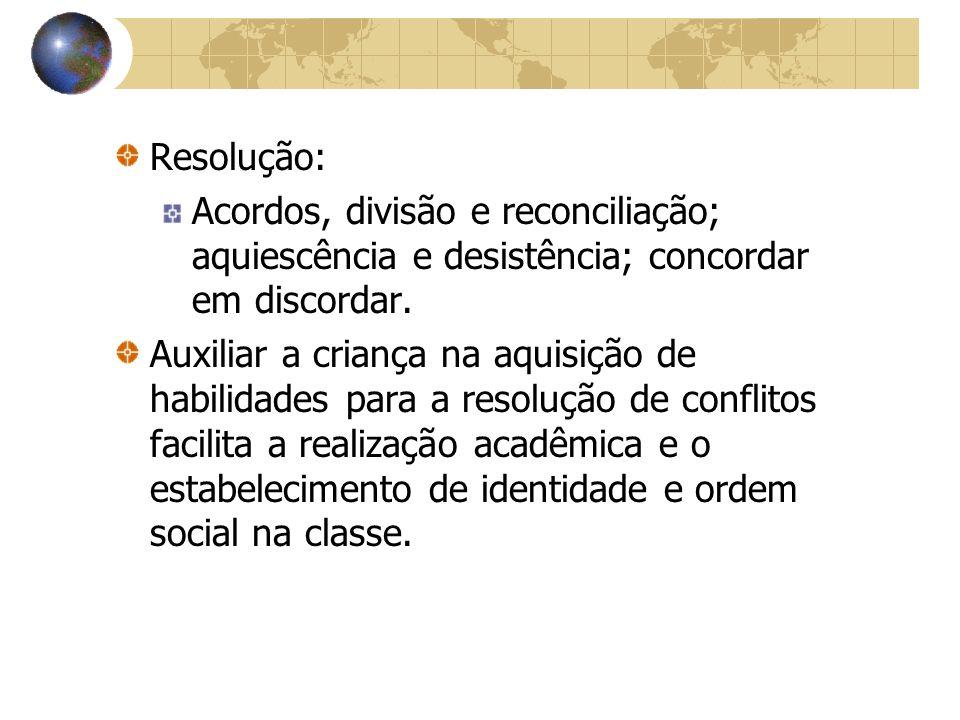 Resolução: Acordos, divisão e reconciliação; aquiescência e desistência; concordar em discordar.