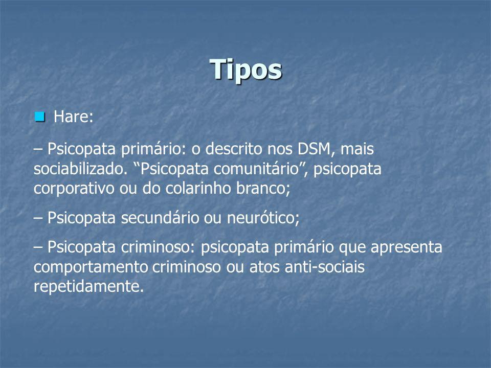 Tipos Hare: – Psicopata primário: o descrito nos DSM, mais sociabilizado. Psicopata comunitário , psicopata corporativo ou do colarinho branco;