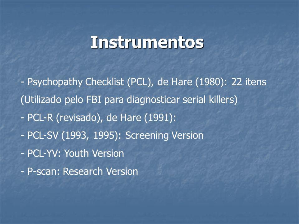 Instrumentos - Psychopathy Checklist (PCL), de Hare (1980): 22 itens