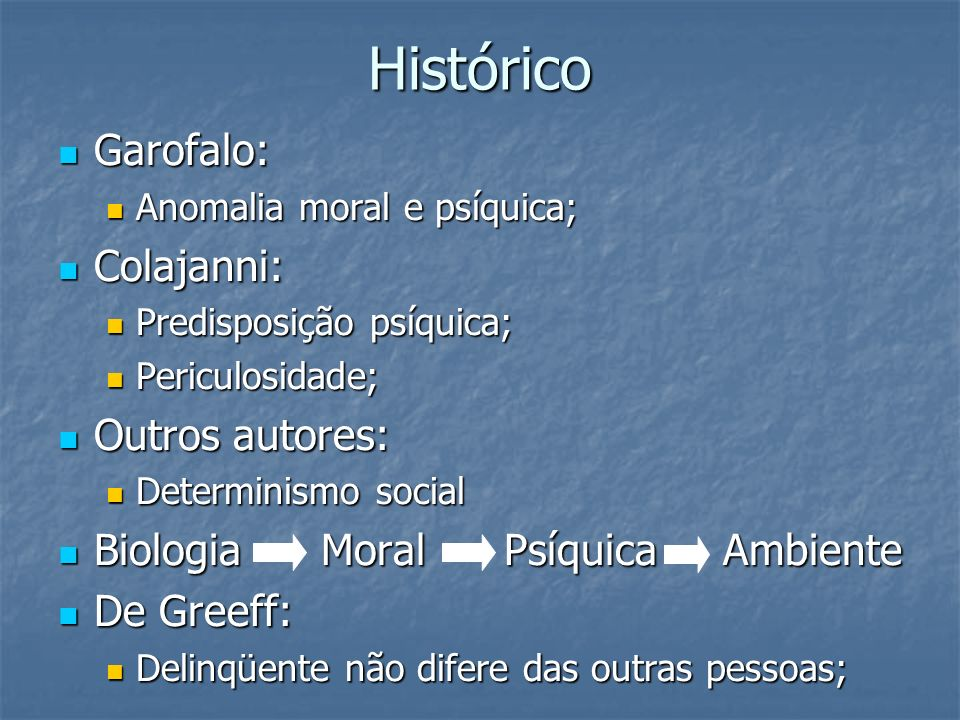 Histórico Garofalo: Colajanni: Outros autores: