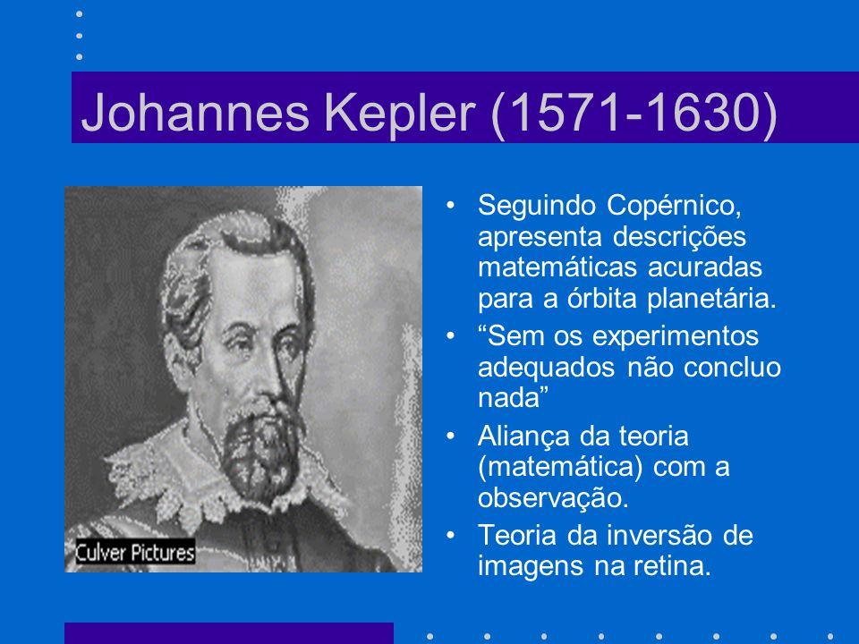 Johannes Kepler (1571-1630) Seguindo Copérnico, apresenta descrições matemáticas acuradas para a órbita planetária.