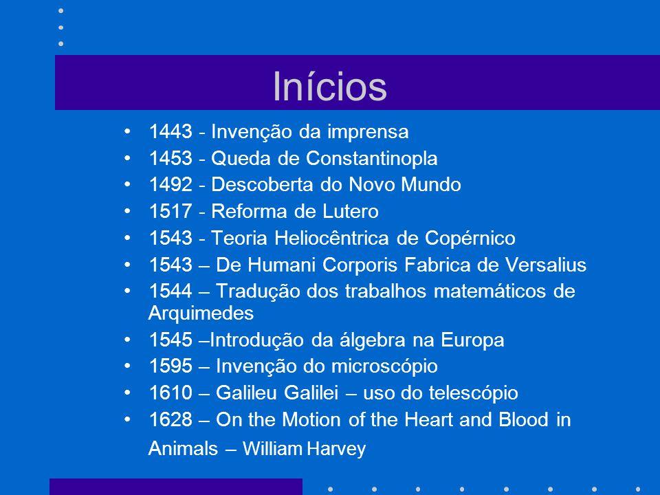 Inícios 1443 - Invenção da imprensa 1453 - Queda de Constantinopla