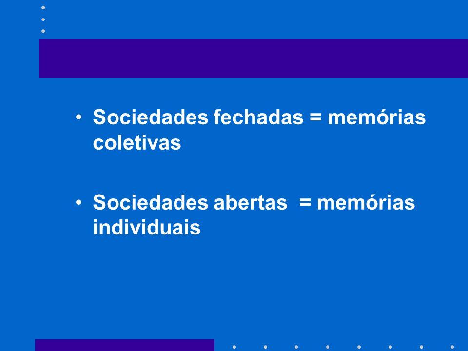 Sociedades fechadas = memórias coletivas