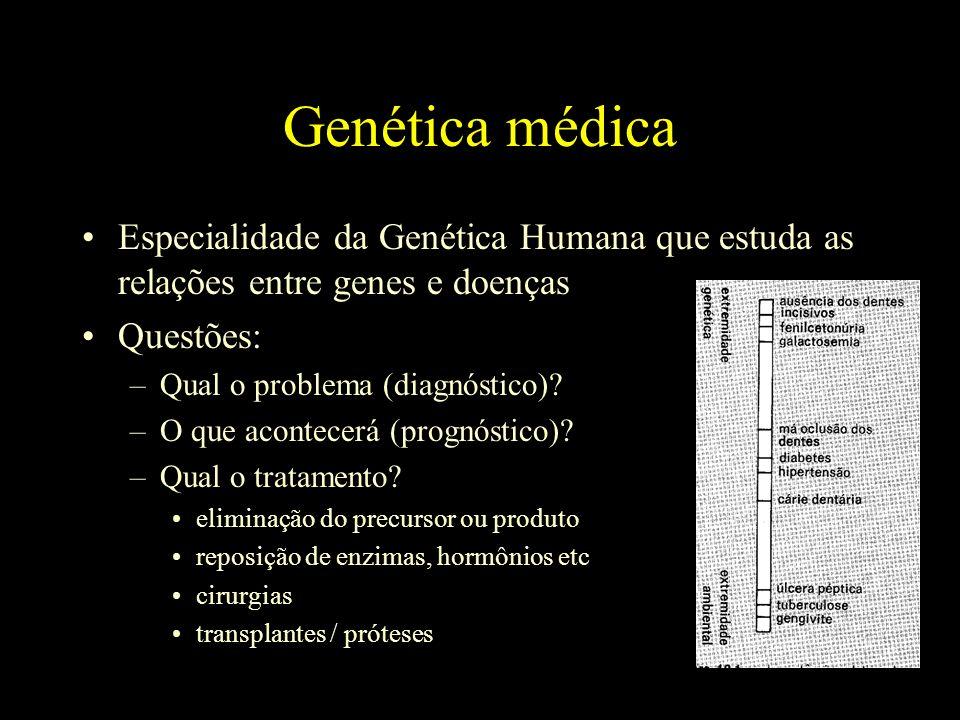 Genética médica Especialidade da Genética Humana que estuda as relações entre genes e doenças. Questões: