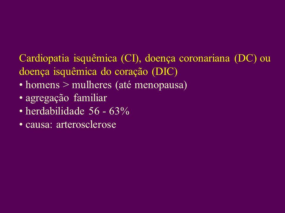 Cardiopatia isquêmica (CI), doença coronariana (DC) ou doença isquêmica do coração (DIC)