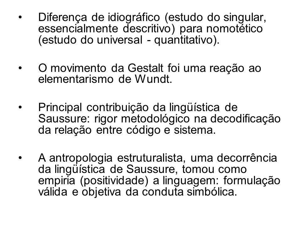Diferença de idiográfico (estudo do singular, essencialmente descritivo) para nomotético (estudo do universal - quantitativo).