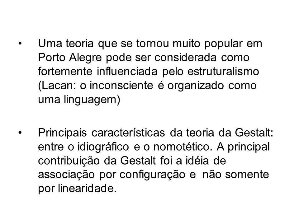 Uma teoria que se tornou muito popular em Porto Alegre pode ser considerada como fortemente influenciada pelo estruturalismo (Lacan: o inconsciente é organizado como uma linguagem)