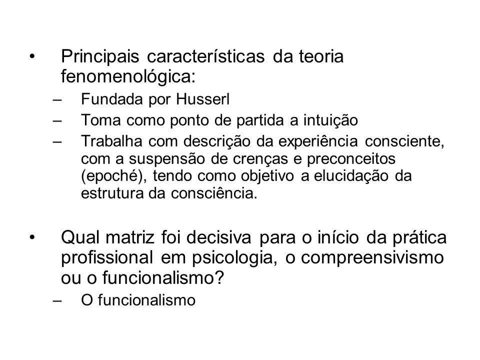 Principais características da teoria fenomenológica: