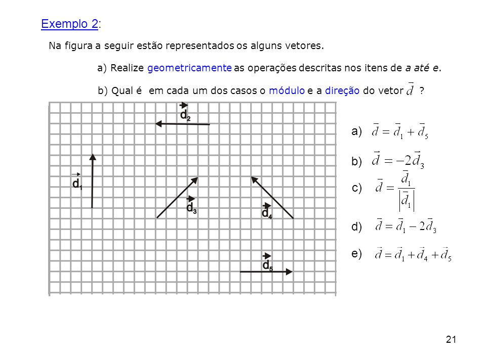 Exemplo 2: Na figura a seguir estão representados os alguns vetores. a) Realize geometricamente as operações descritas nos itens de a até e.