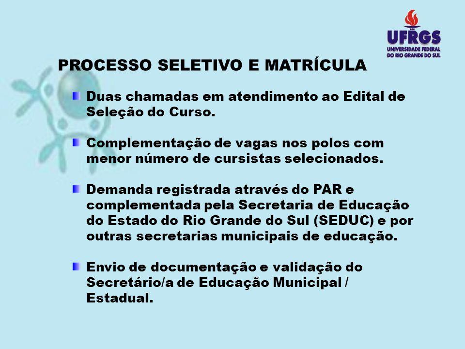 PROCESSO SELETIVO E MATRÍCULA