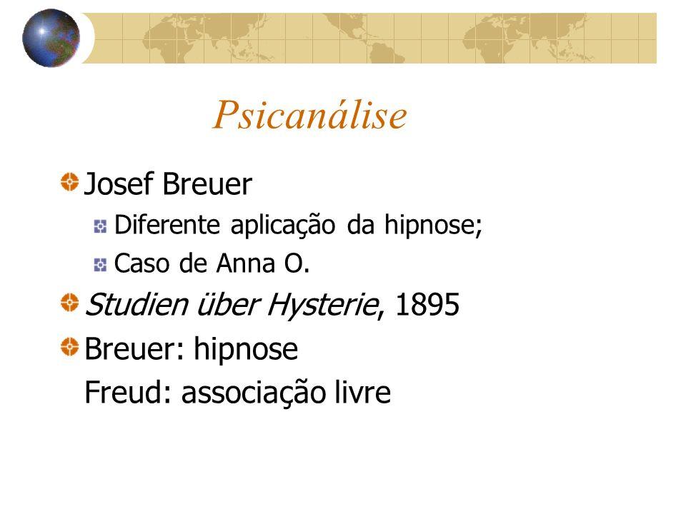 Psicanálise Josef Breuer Studien über Hysterie, 1895 Breuer: hipnose