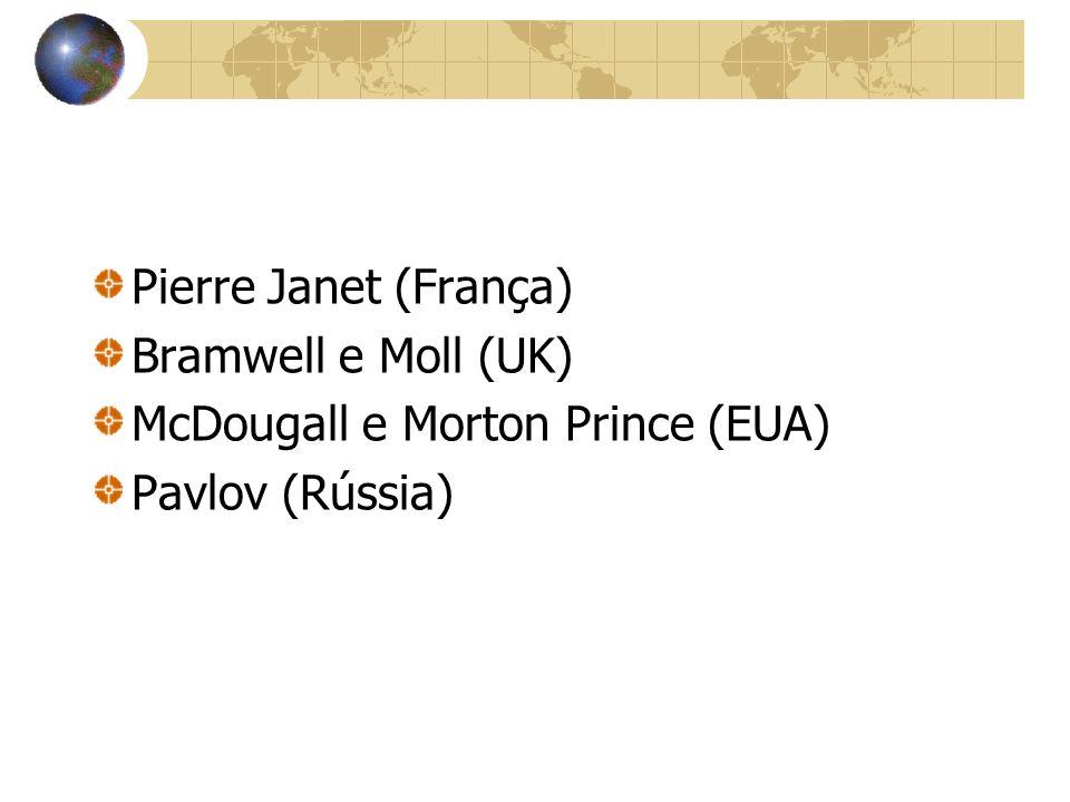 Pierre Janet (França) Bramwell e Moll (UK) McDougall e Morton Prince (EUA) Pavlov (Rússia)
