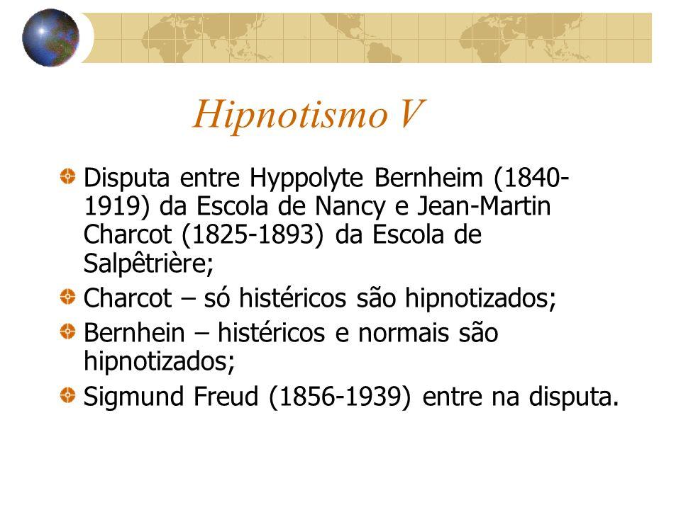 Hipnotismo V Disputa entre Hyppolyte Bernheim (1840-1919) da Escola de Nancy e Jean-Martin Charcot (1825-1893) da Escola de Salpêtrière;