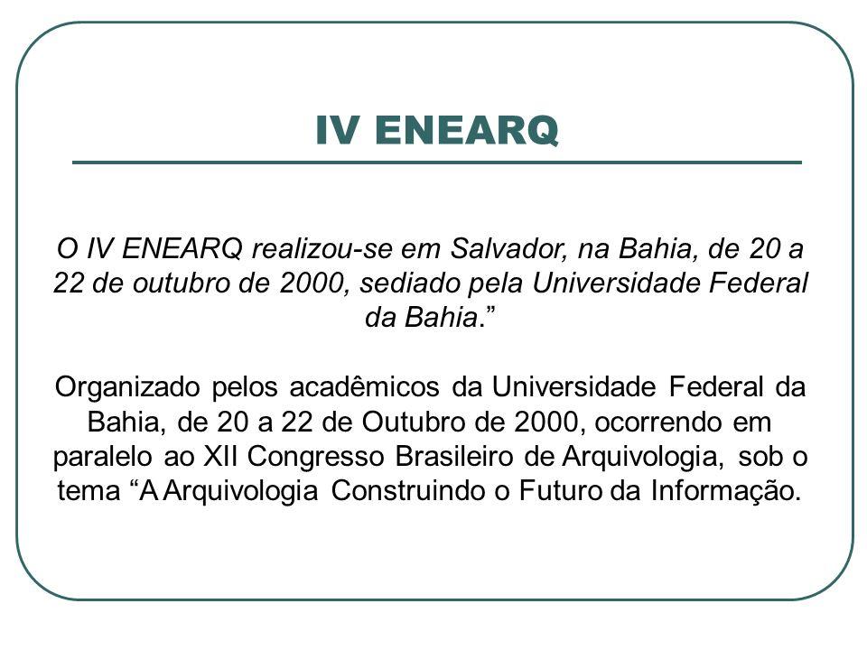 IV ENEARQ O IV ENEARQ realizou-se em Salvador, na Bahia, de 20 a 22 de outubro de 2000, sediado pela Universidade Federal da Bahia.