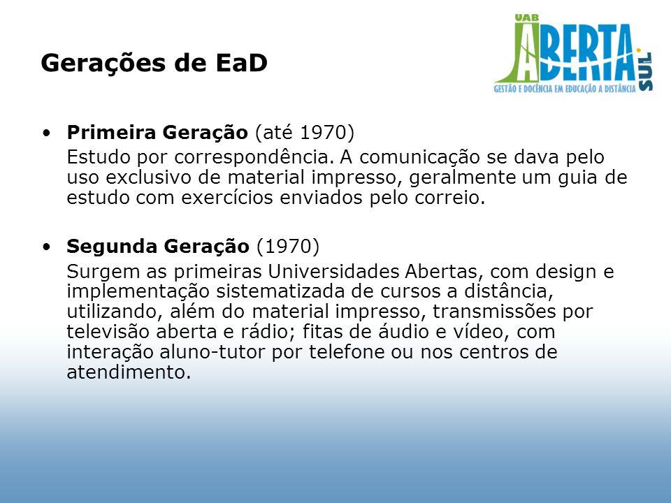 Gerações de EaD Primeira Geração (até 1970)