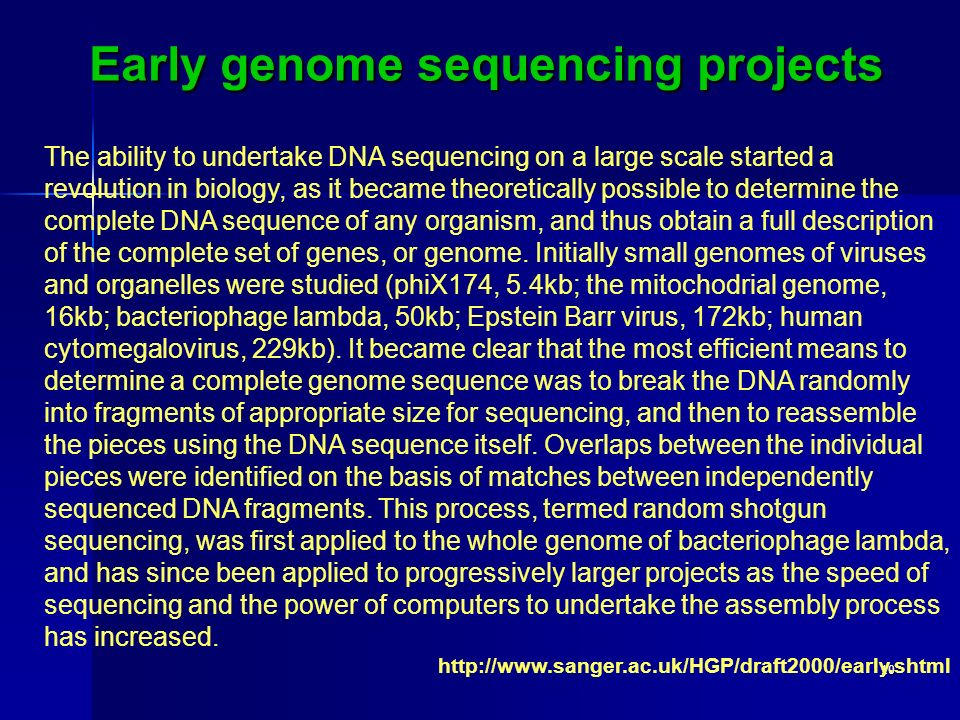 Early genome sequencing projects