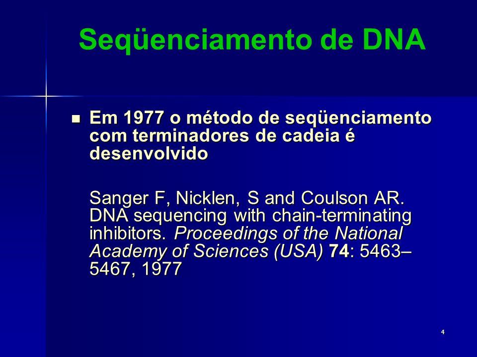 Seqüenciamento de DNA Em 1977 o método de seqüenciamento com terminadores de cadeia é desenvolvido.
