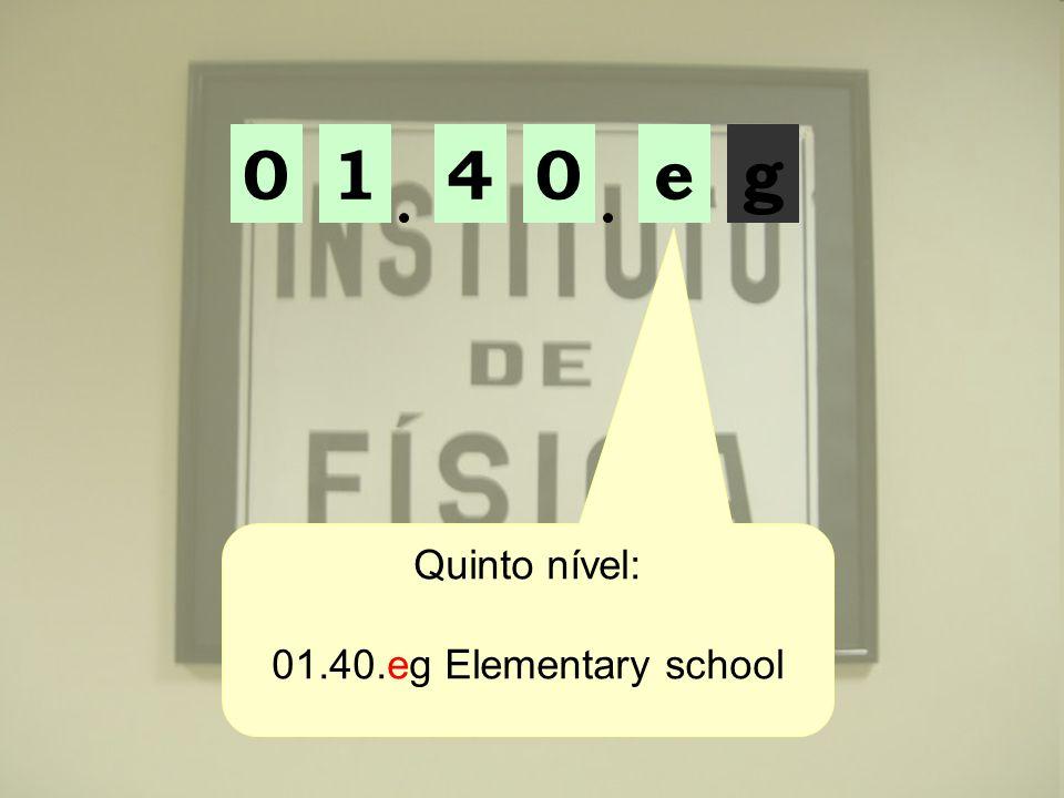 1 4 e g Quinto nível: 01.40.eg Elementary school