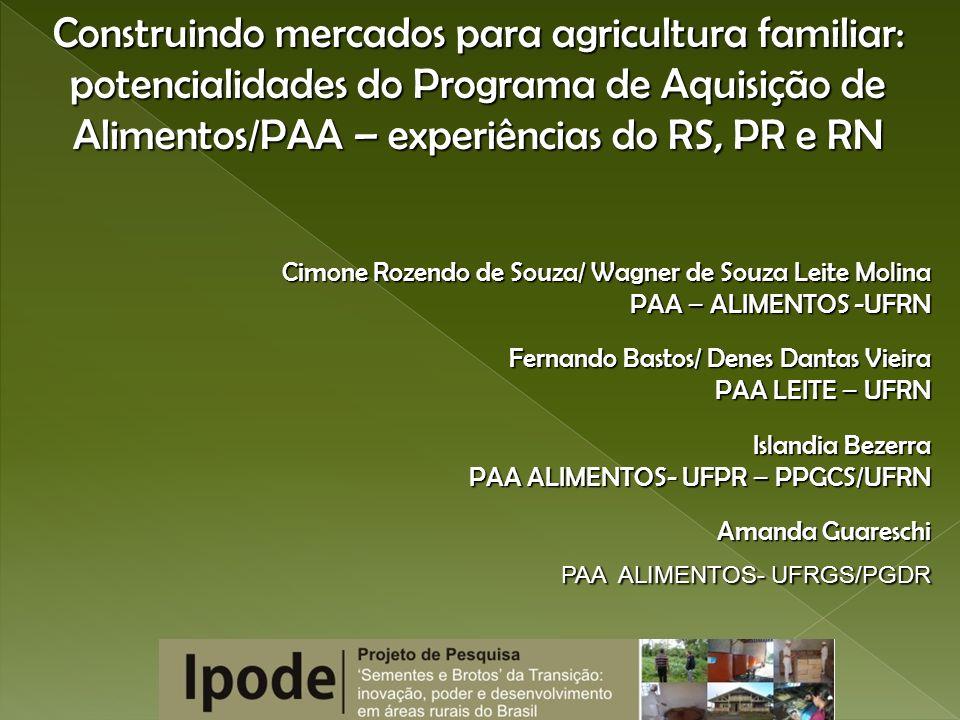 Construindo mercados para agricultura familiar: potencialidades do Programa de Aquisição de Alimentos/PAA – experiências do RS, PR e RN