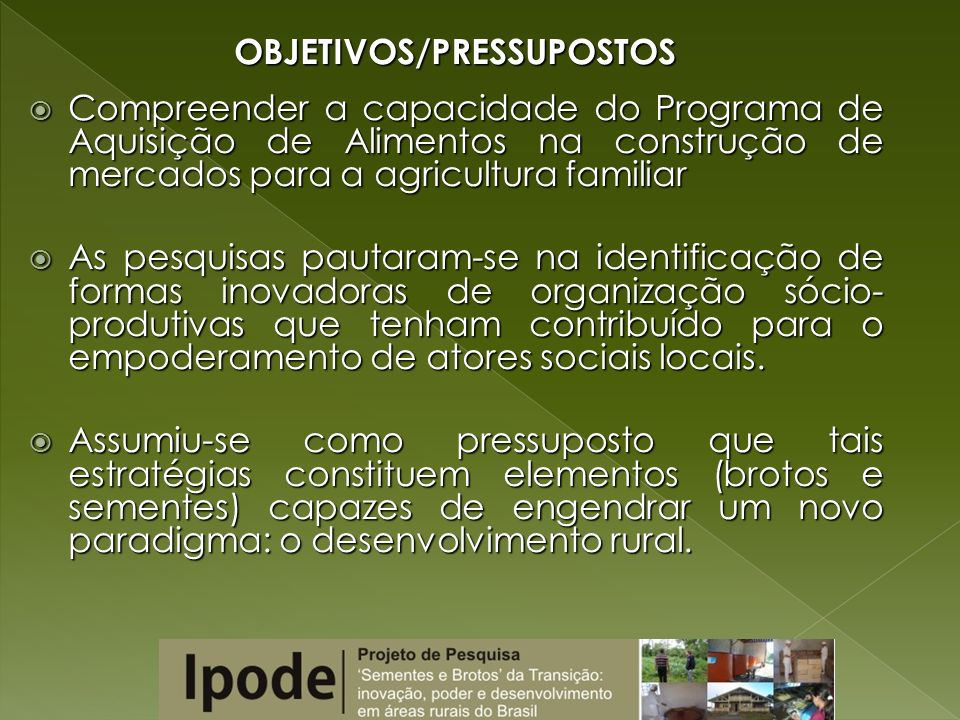 OBJETIVOS/PRESSUPOSTOS