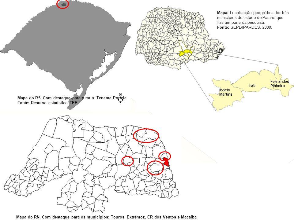 Mapa do RS. Com destaque para o mun. Tenente Portela.