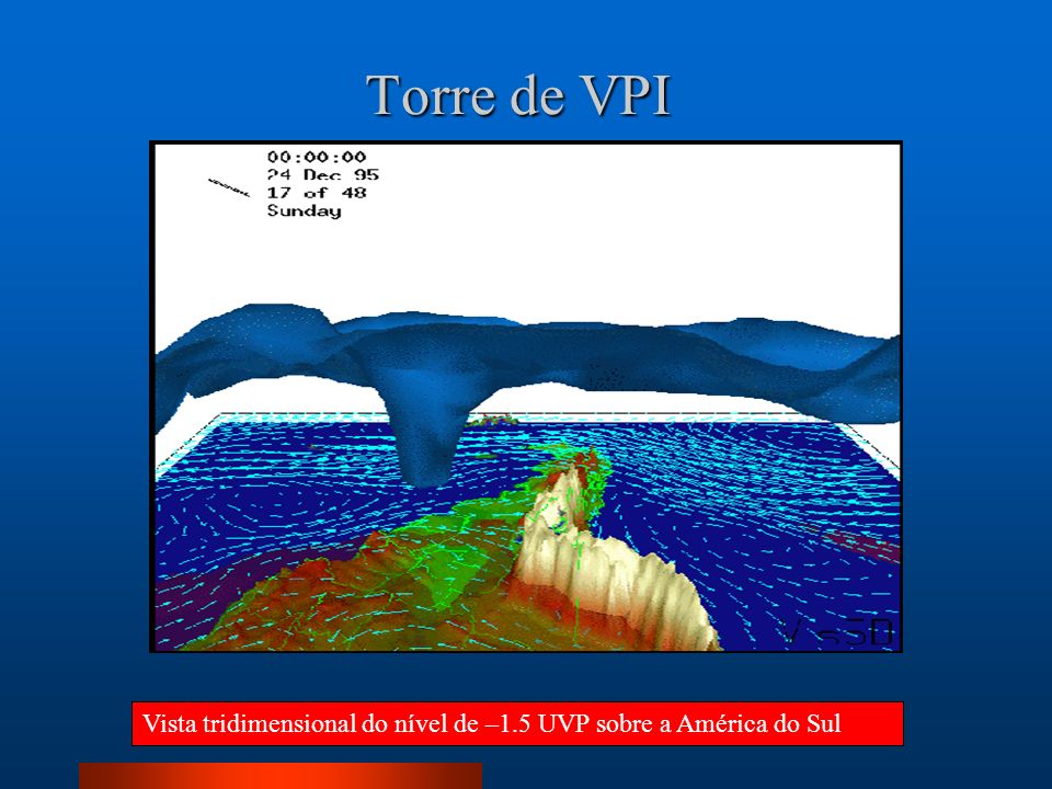 Torre de VPI Vista tridimensional do nível de –1.5 UVP sobre a América do Sul