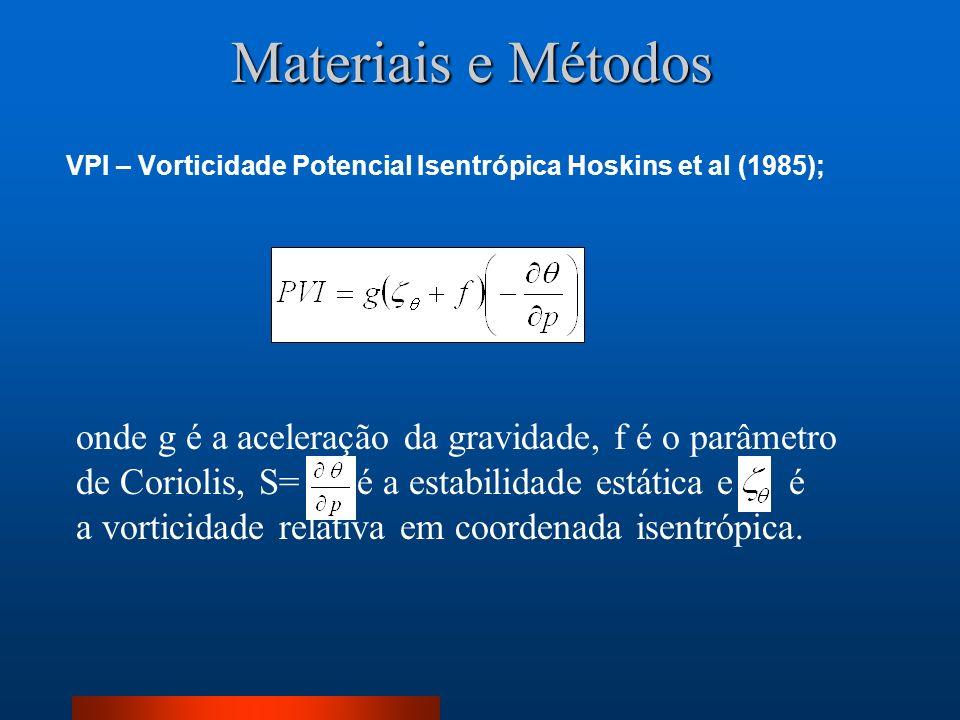 Materiais e Métodos VPI – Vorticidade Potencial Isentrópica Hoskins et al (1985);