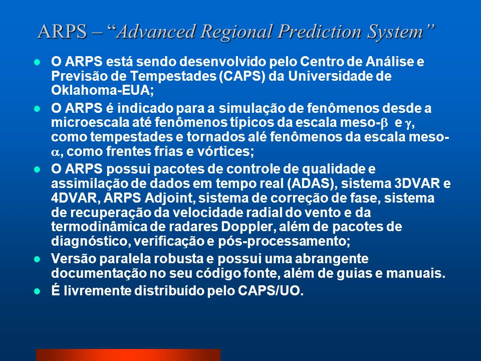 ARPS – Advanced Regional Prediction System