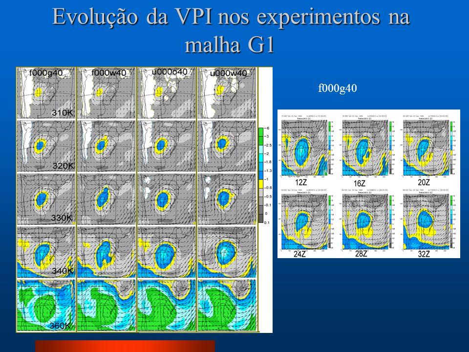Evolução da VPI nos experimentos na malha G1
