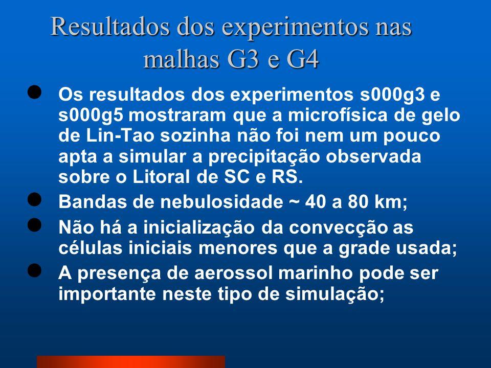 Resultados dos experimentos nas malhas G3 e G4