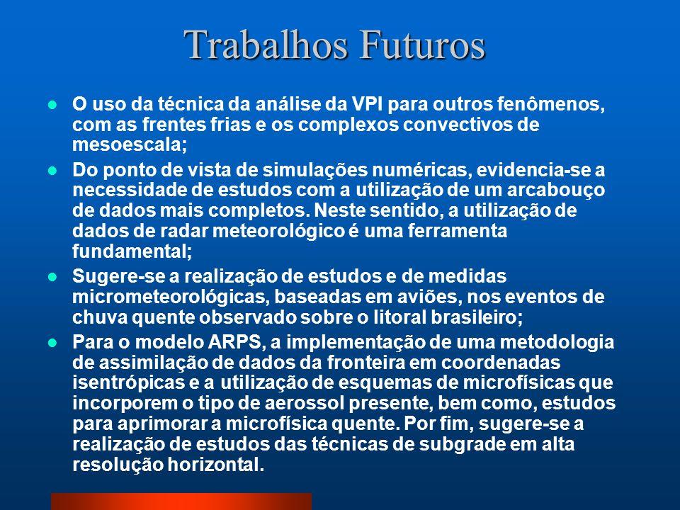Trabalhos Futuros O uso da técnica da análise da VPI para outros fenômenos, com as frentes frias e os complexos convectivos de mesoescala;