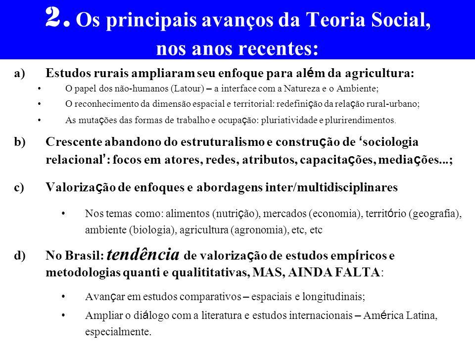 2. Os principais avanços da Teoria Social, nos anos recentes: