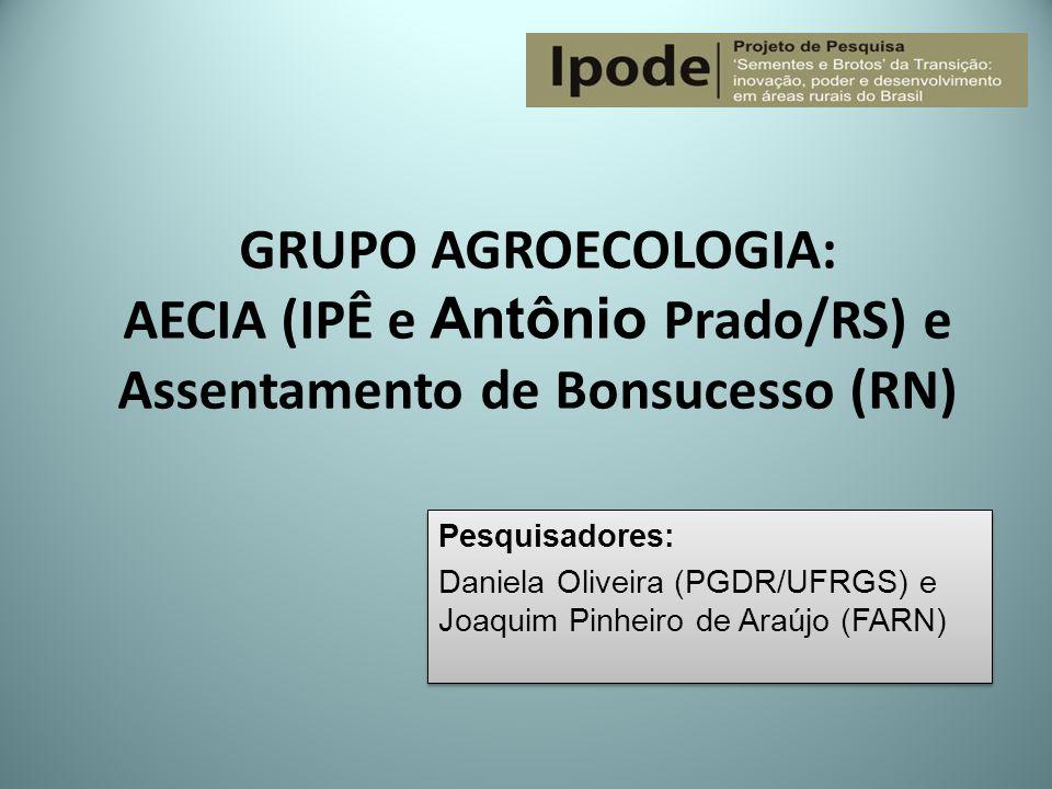 GRUPO AGROECOLOGIA: AECIA (IPÊ e Antônio Prado/RS) e Assentamento de Bonsucesso (RN)