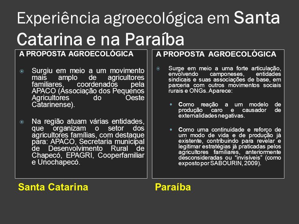 Experiência agroecológica em Santa Catarina e na Paraíba