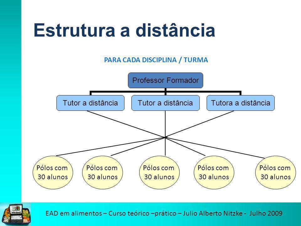 Estrutura a distância PARA CADA DISCIPLINA / TURMA Pólos com 30 alunos