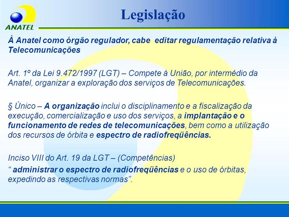 Legislação À Anatel como órgão regulador, cabe editar regulamentação relativa à Telecomunicações.