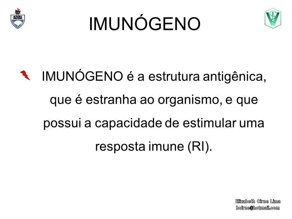 IMUNÓGENO IMUNÓGENO é a estrutura antigênica, que é estranha ao organismo, e que possui a capacidade de estimular uma resposta imune (RI).