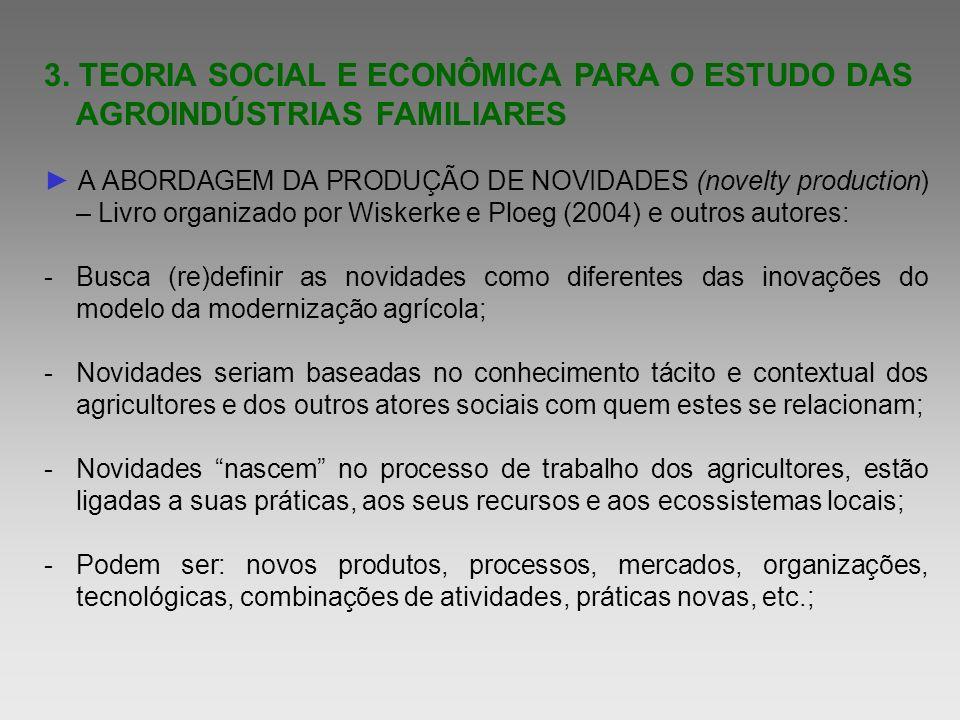 3. TEORIA SOCIAL E ECONÔMICA PARA O ESTUDO DAS AGROINDÚSTRIAS FAMILIARES
