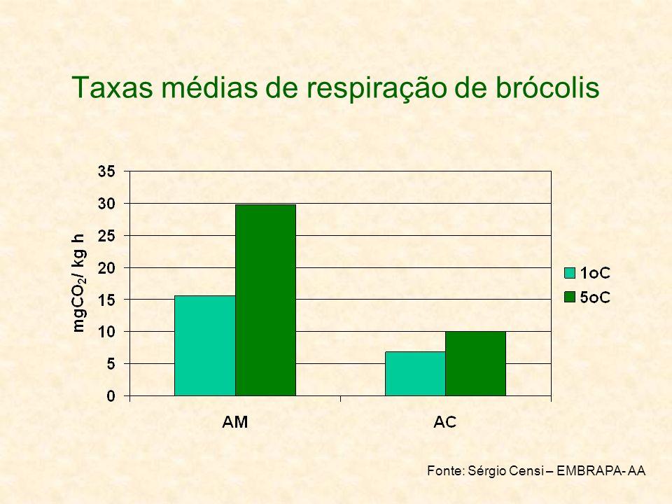 Taxas médias de respiração de brócolis
