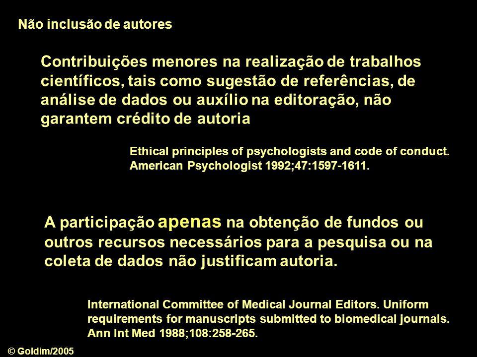 Não inclusão de autores