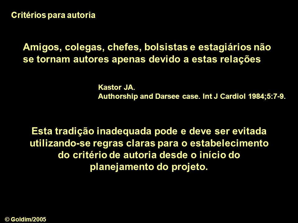 Critérios para autoria