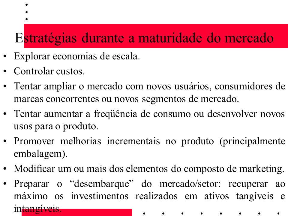 Estratégias durante a maturidade do mercado