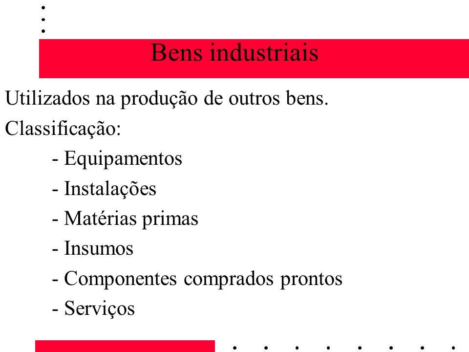 Bens industriais Utilizados na produção de outros bens. Classificação: